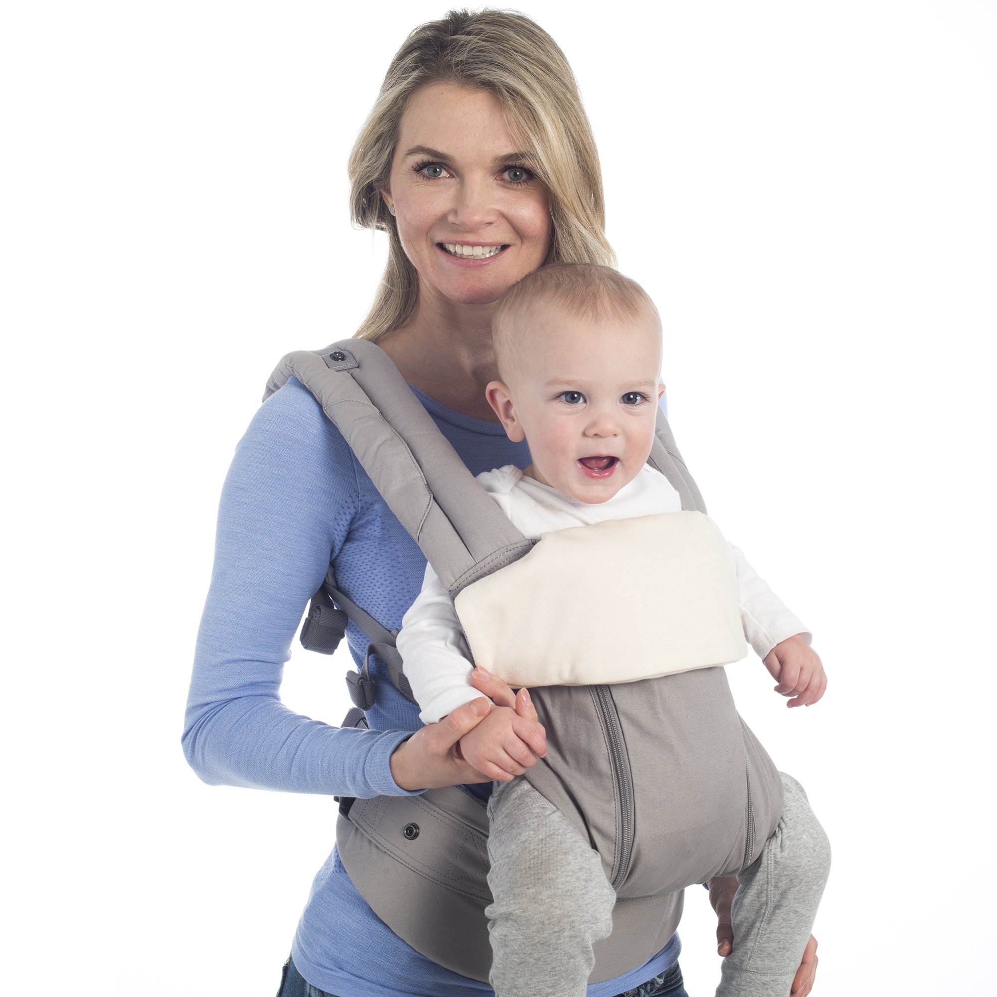 LÍLLÉbaby Organic Front Teething Bib, Natural - Organic Cotton Teething Bib for Baby Carrier