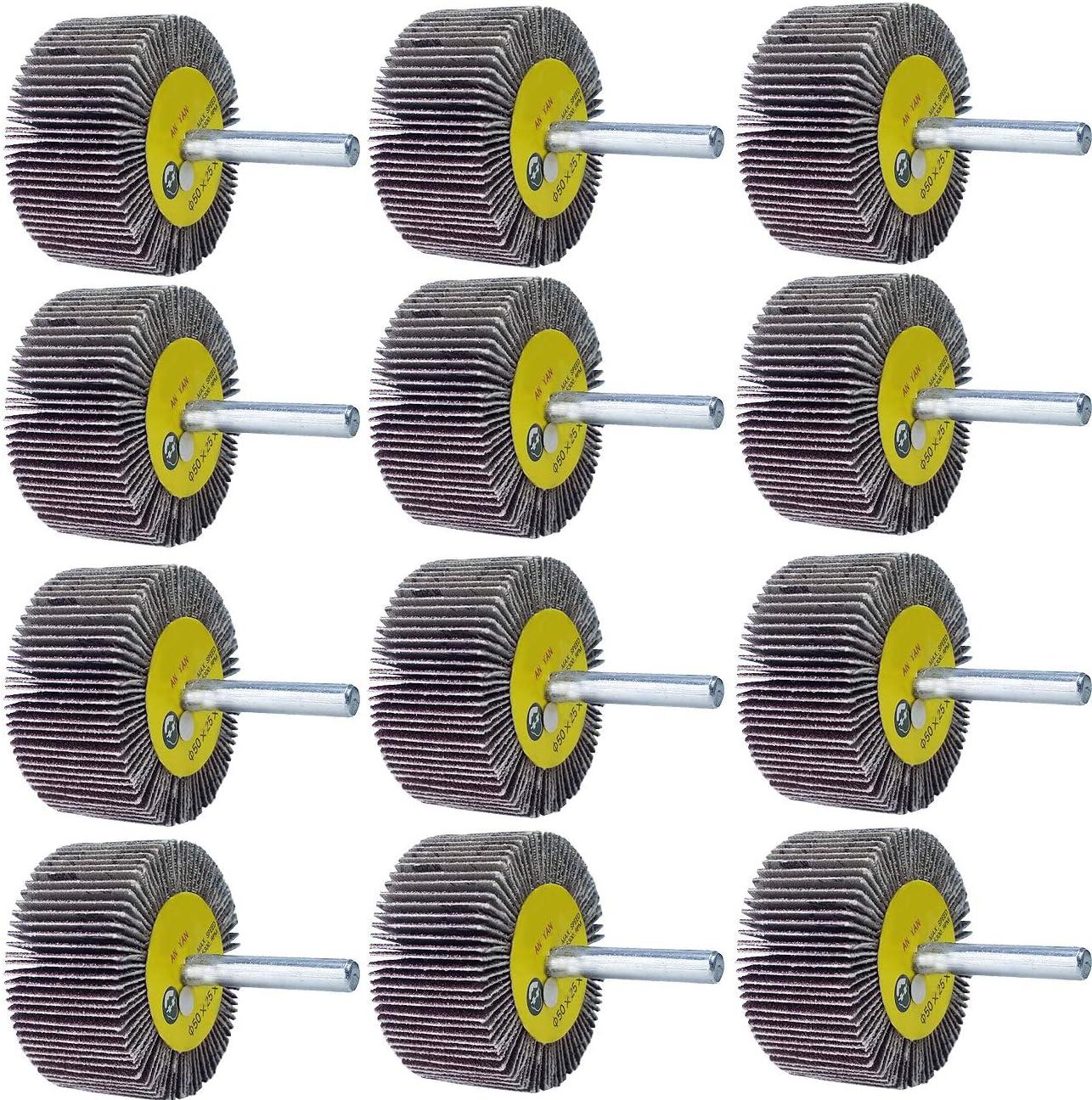M-Jump - Juego de 12 ruedas de solapa de 2 x 1 x 1/4 pulgadas, 3 unidades de cada grano 40, 60, 80 y 120 de óxido de aluminio para eliminar óxido y fresa de soldadura, vástago de 1/4 para todos los taladros