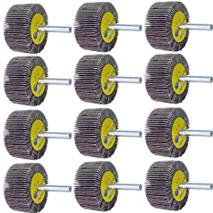 """M-jump 12 Pcs 2""""X 1"""" X1/4"""" Flap Wheels Set –3 pcs Of Each 40 60 80 and 120 Grits Aluminum Oxide for Remove Rust and Weld Burr – 1/4 Shank Fits All Drills"""