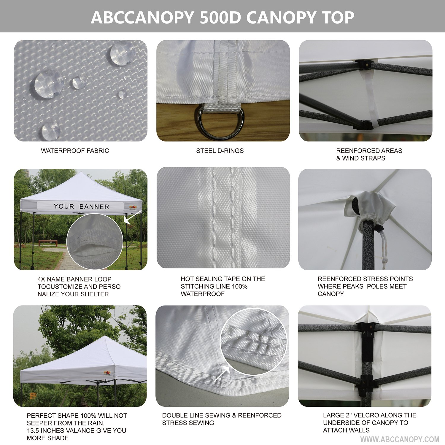 ABCCANOPY 10 x10 Pop Up Canopy Commercial Event Canopy Market Stall Canopy Booth Outdoor Trade Show Booth With Wheeled Carry Bags by abccanopy (Image #5)