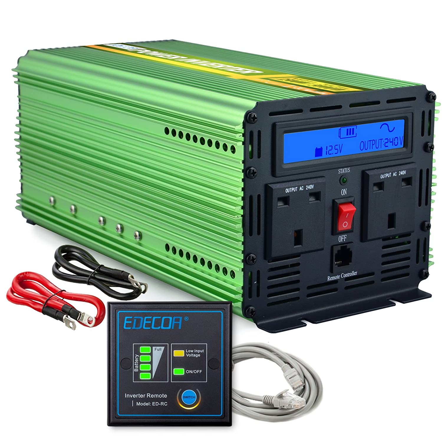 EDECOA 1500W Peak 3000W Pure Sine Wvae Power Inverter DC 12V to 240V AC Car  Vehicle withLCD Display and Remote