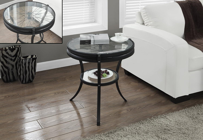 Amazon.com: Martillado Negro Mesa decorativa con vidrio ...
