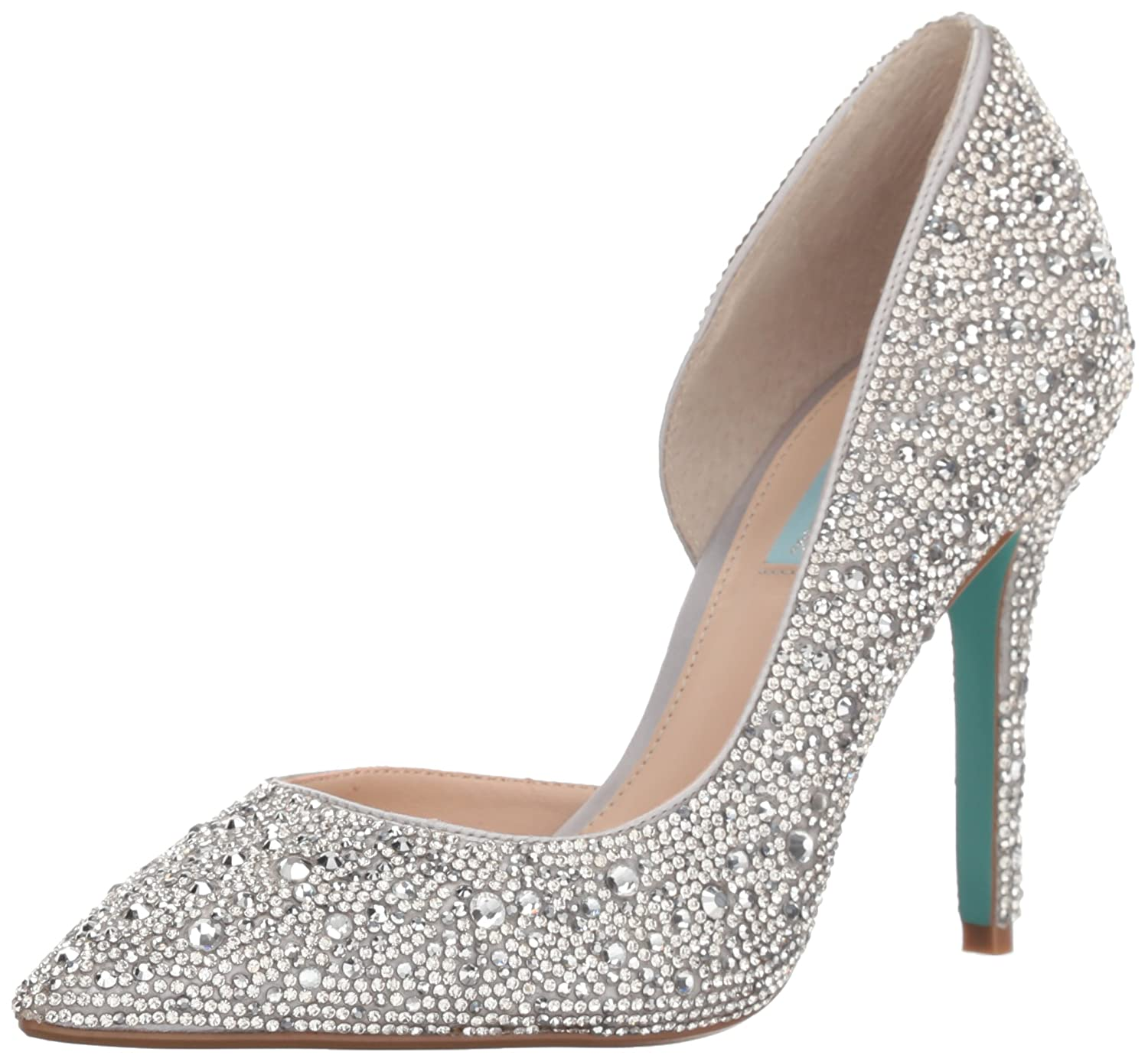 Blue by Betsey Johnson Women's Sb-Hazil Pump B078K9KWVN 9 M US|Silver Satin