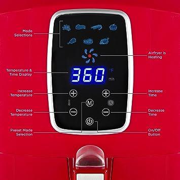Amazon.com: Freidora digital de aire extragrande, con ...