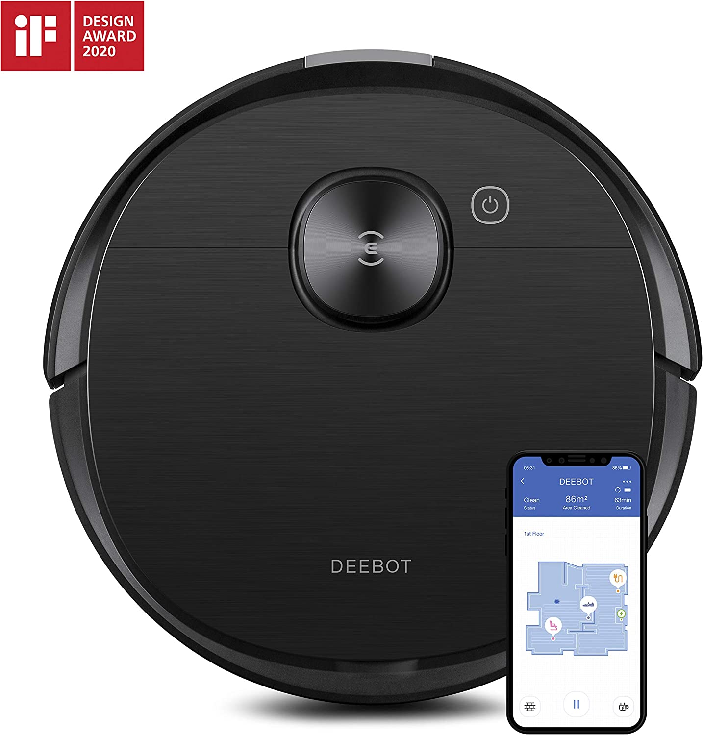 Ecovacs Deebot Ozmo T8 AIVI Robot Vacuum Cleaner & Mop with Smart Objection Recognition, Advanced Laser Mapping, Custom Clean Programming Options, High Efficiency Filter, 3+ Hours of Runtime