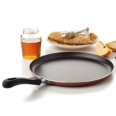 Large Crepe Pan 10 Inch Nonstick Coating and Bakelite Handle - Easy pancakes omelette fried eggs tortilla pancake pita bread Cookware - Best Crepes Pan Rounded Base durable