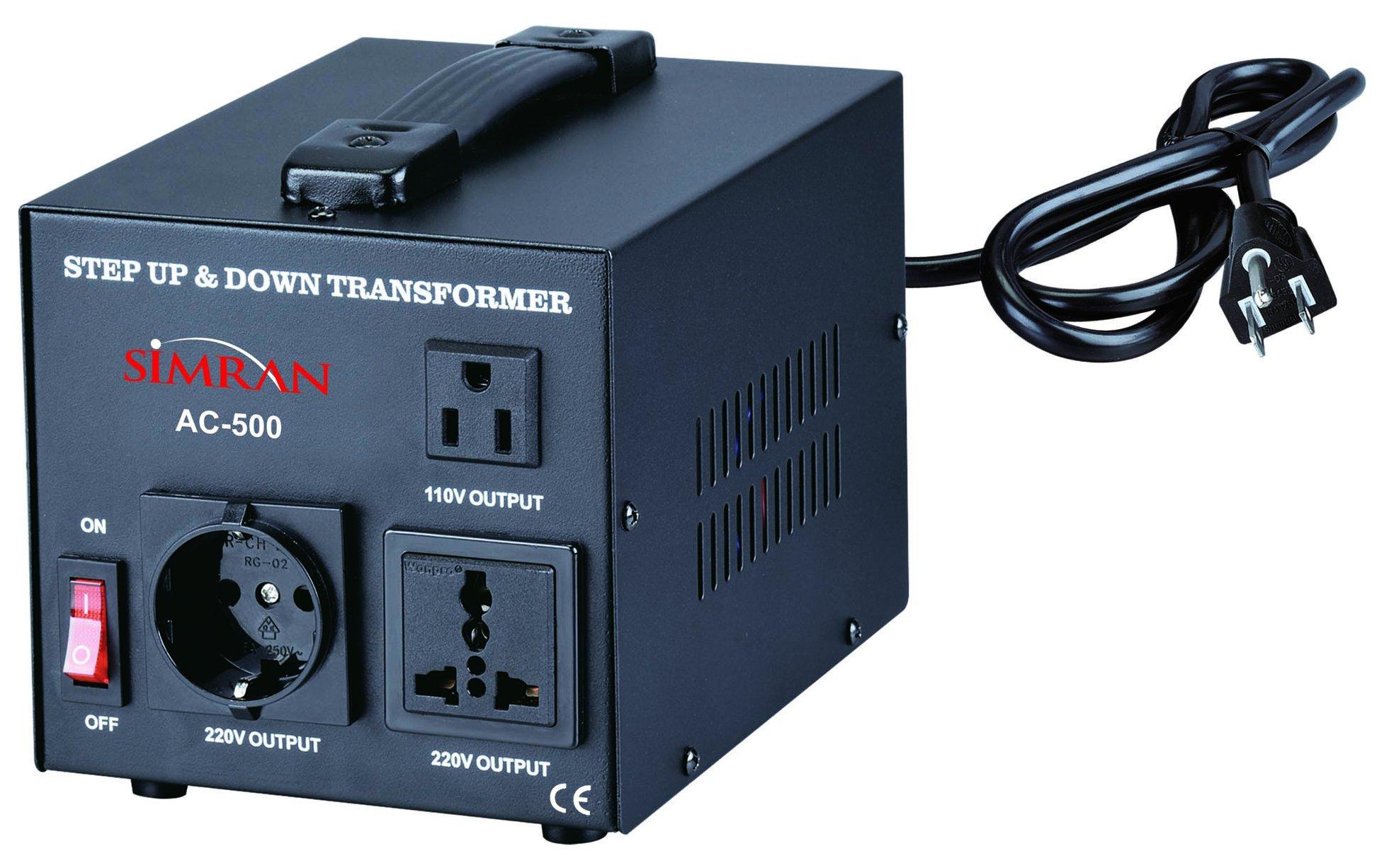 Simran Voltage Transformer, 500 Watt, Step up and Down, 110 Volt, 220 Volt Power Converter, Black (ACN-500)