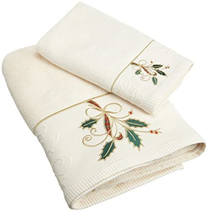 Lenox Ribbon And Holly Embroidered Bath Towel Ivory