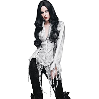 10b984b928e9f4 Eva Lady White Gothic Vintage Sexy Deep V-Neck Blouse Lace Up Shirt for  Women