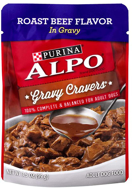 Purino Alpo Adult Dog Food, Gravy Cravers Roast Beef Flavor in Gravy, 3.5 Ounces (Pack of 24)