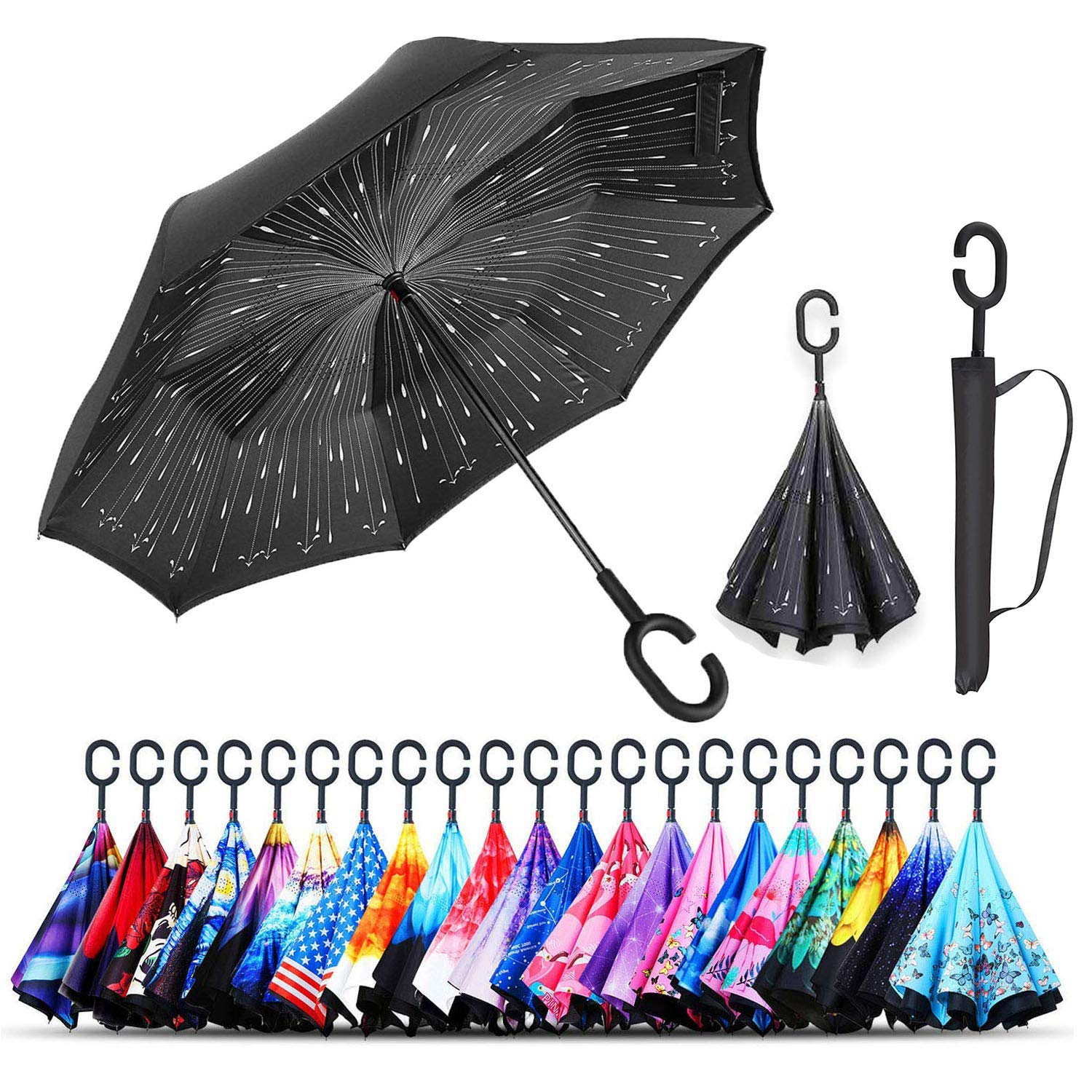 Monstleo Inverted Umbrella,Double Layer Reverse Umbrella for Car and Outdoor Use by, Windproof UV Protection Big Straight Umbrella with C-Shaped Handle and Carrying Bag (rain) by Monstleo