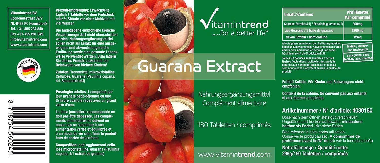 Extracto de guaraná 300mg - 4 veces mayor concentración - vegano - tratamiento para 6 meses - 180 pastillas: Amazon.es: Salud y cuidado personal