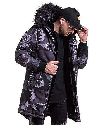 PROJECT X Parka Manteaux Long Camouflage Homme Capuche Fourrure