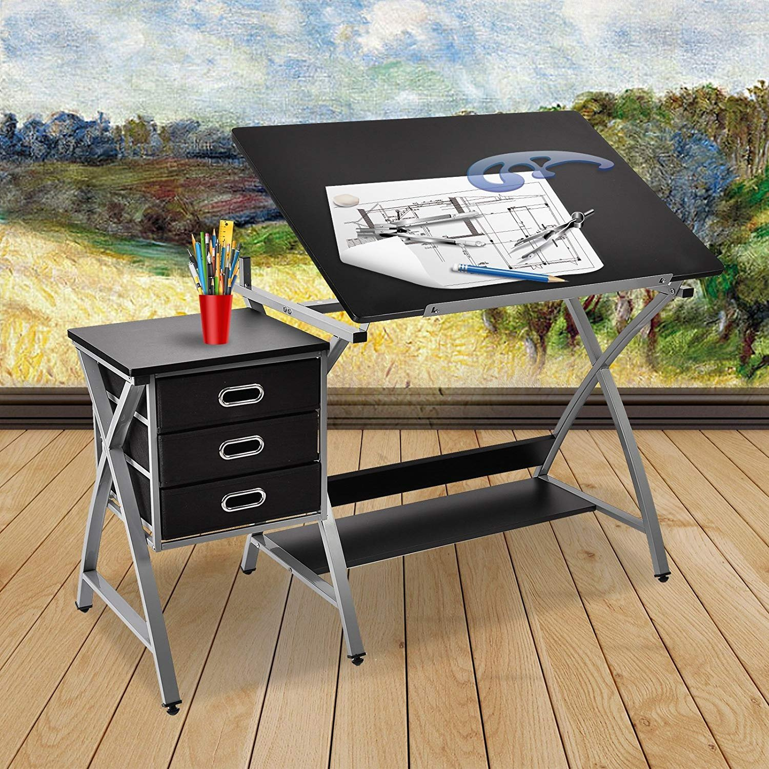 Mecor Drafting Table Art Craft Drawing Desk Art Hobby Folding Adjustable with Stool and 3 Drawers,Additional lower shelf,Black