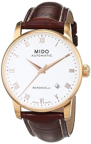 MIDO Baroncelli Ii 38mm M86002268 - Reloj de caballero automático, correa de piel color marrón: Amazon.es: Relojes