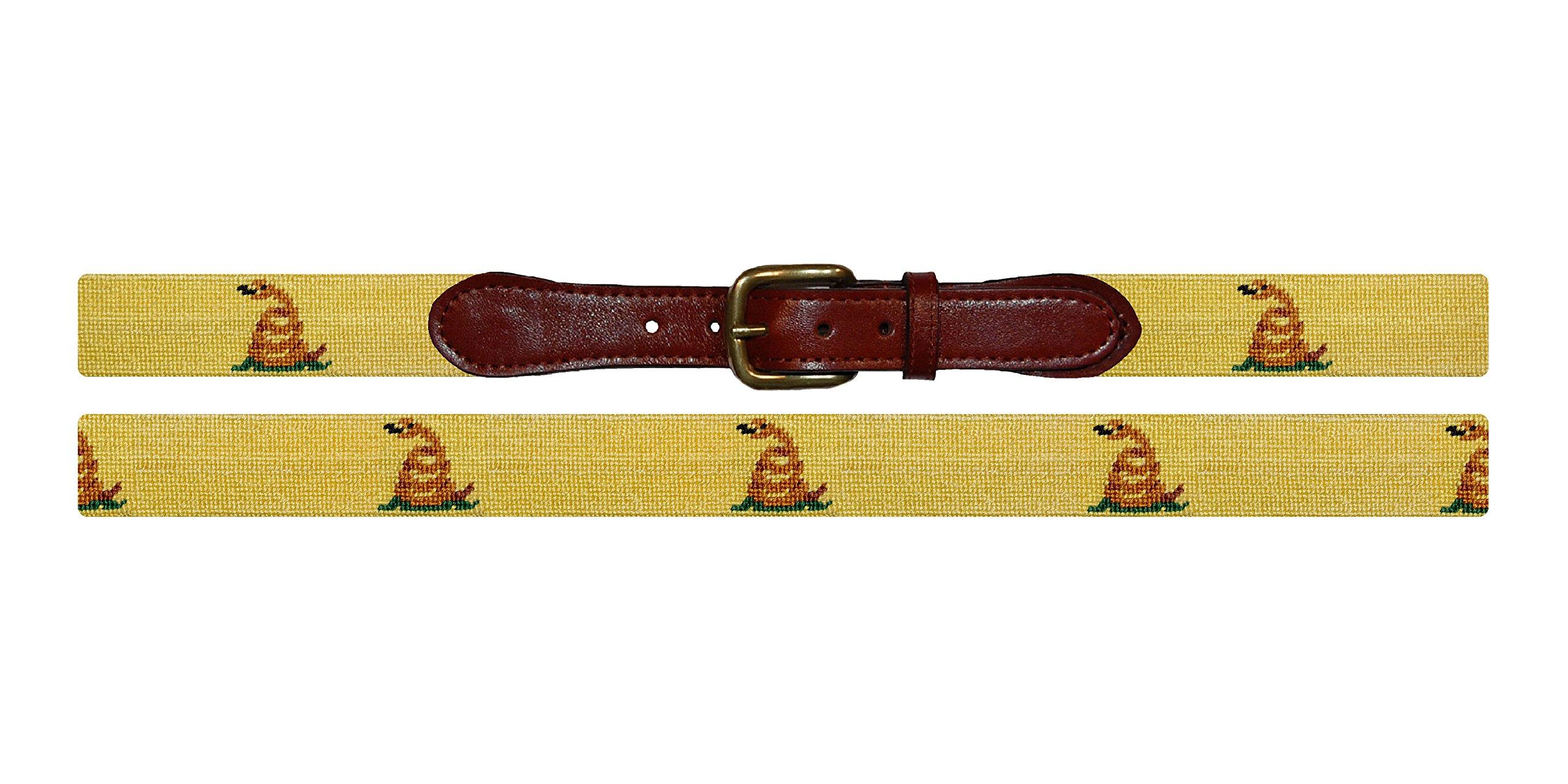 Smathers & Branson Gadsden Flag Traditional Needlepoint Belt, Size 40 (B-248-40)