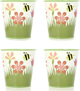 Hosley Set of 4 Metal Flower Pots Planter 5 Inch High Floral and Bee Design. Ideal Gift for Kitchen Home Party Weddings Spa O9