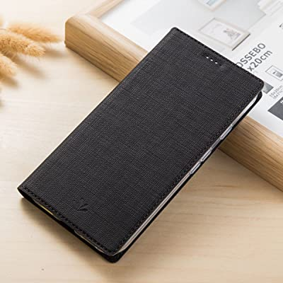 Funda Huawei Honor View 10, Yoota Funda de Cuero Cubierta para Huawei Honor View 10 / V10 PU Slim leather Carcasa Con Ranura Para Tarjetas y Cierre Magnético Soporte Plegable - Negro