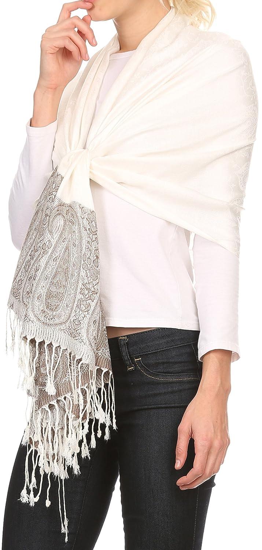 Sakkas Bela larga y ancha franja de la borla múltiples dibujos Pashmina mantón/abrigo / estola: Amazon.es: Ropa y accesorios