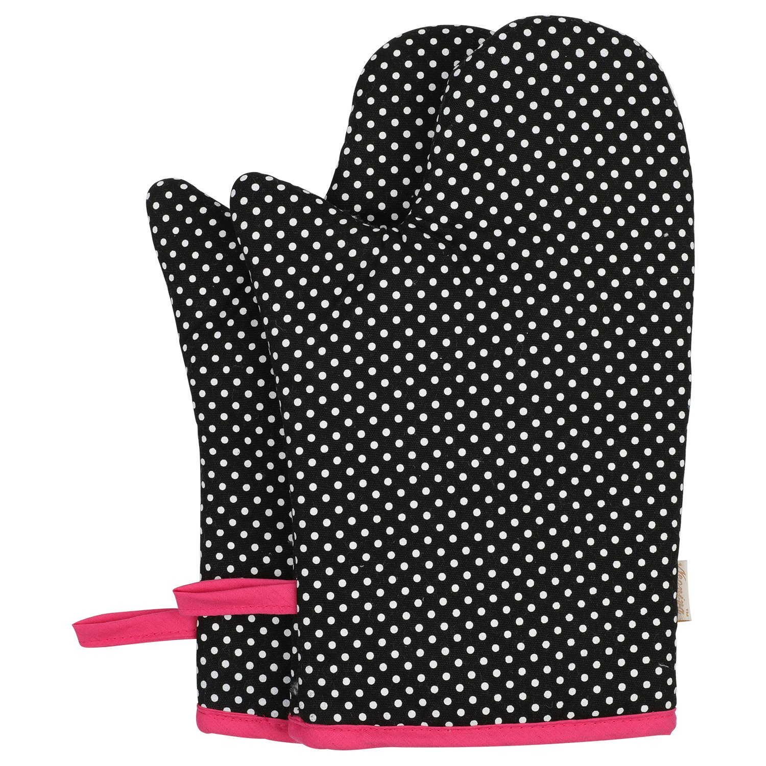 Neoviva Cotton Canvas Oven Mitt for Adult, Pack of 2, Polka Dots Black XinDaSheng(HangZhou) Arts Co. LTD. OvenMitt-2