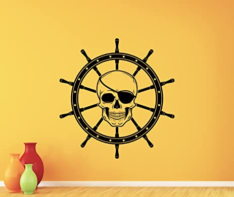 Skull Steering Ship Wheel Wall Decal Pirate Dead Skeleton Skull Logo ...