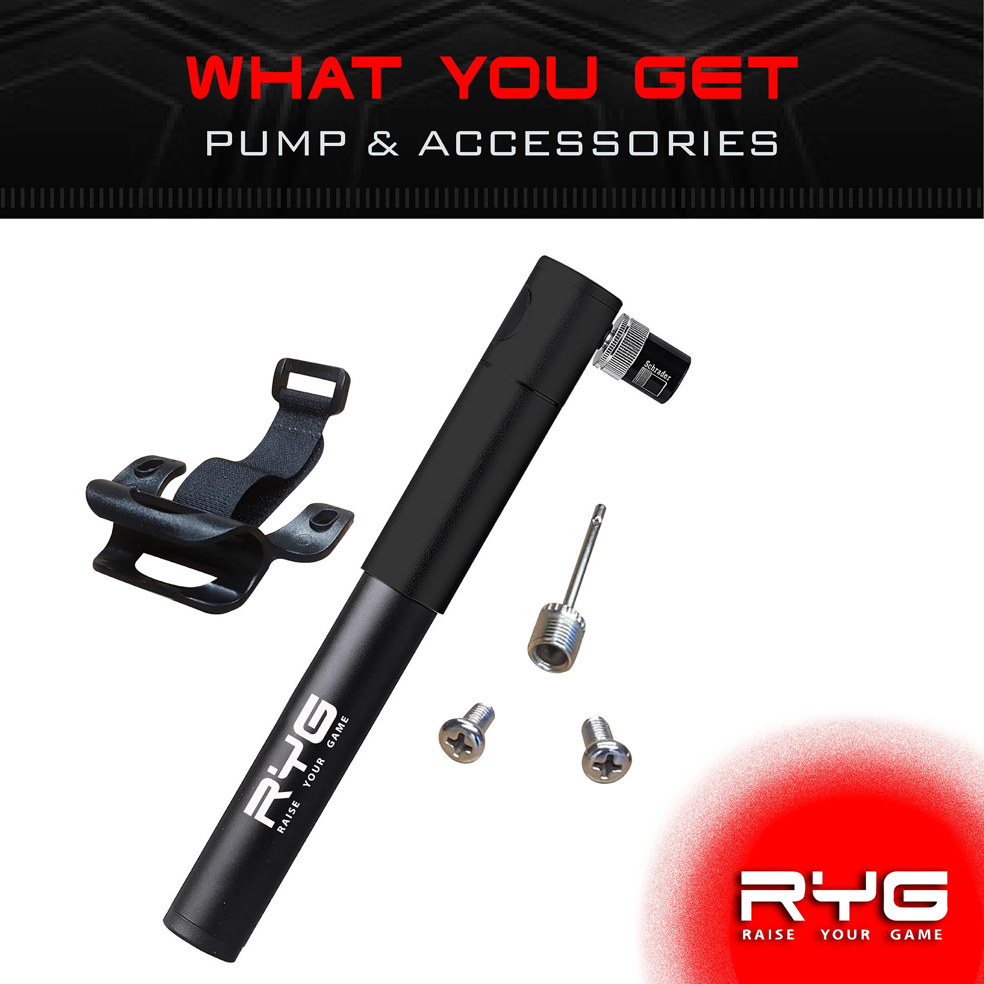RYG Mini Bike Pump with Mounting Bracket, Portable Bicycle Tire Inflator with Air Pressure Gauge, Fits Presta & Schrader Valve, Mountain, Road, Hybrid & BMX Bikes, Lightweight Durable Aluminum Frame