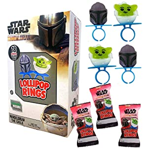 Star Wars Candy Party Favors Individually Wrapped The Mandalorian Darth Vader and The Child Character Shaped Lollipop Rings, 18 Count