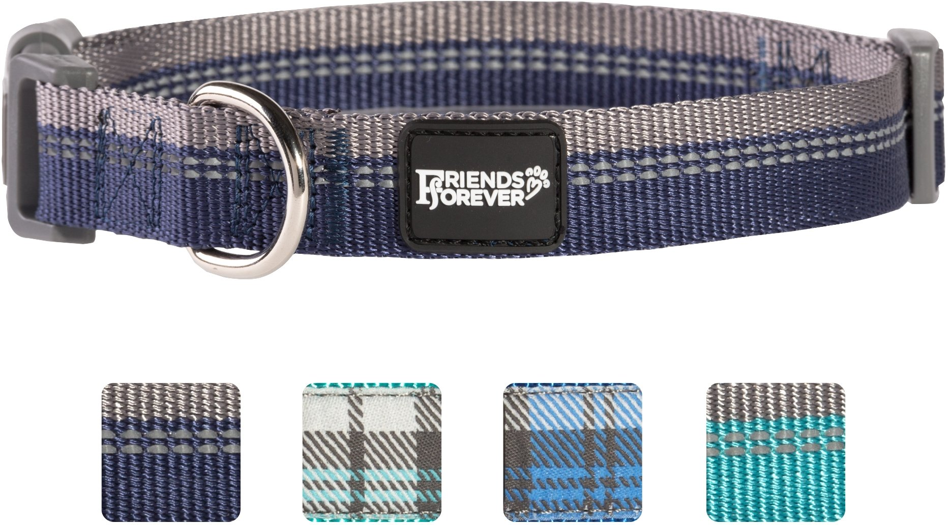 Friends Forever Plaid Dog Collar for Dogs, Fashion Reflective Pattern Cute Puppy Collar, 11-16'' Small Navy by Friends Forever