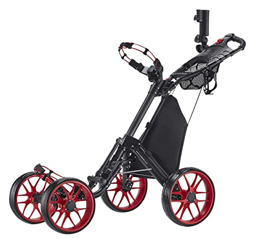 CaddyTek One-click Folding 4-wheel Golf Push Cart