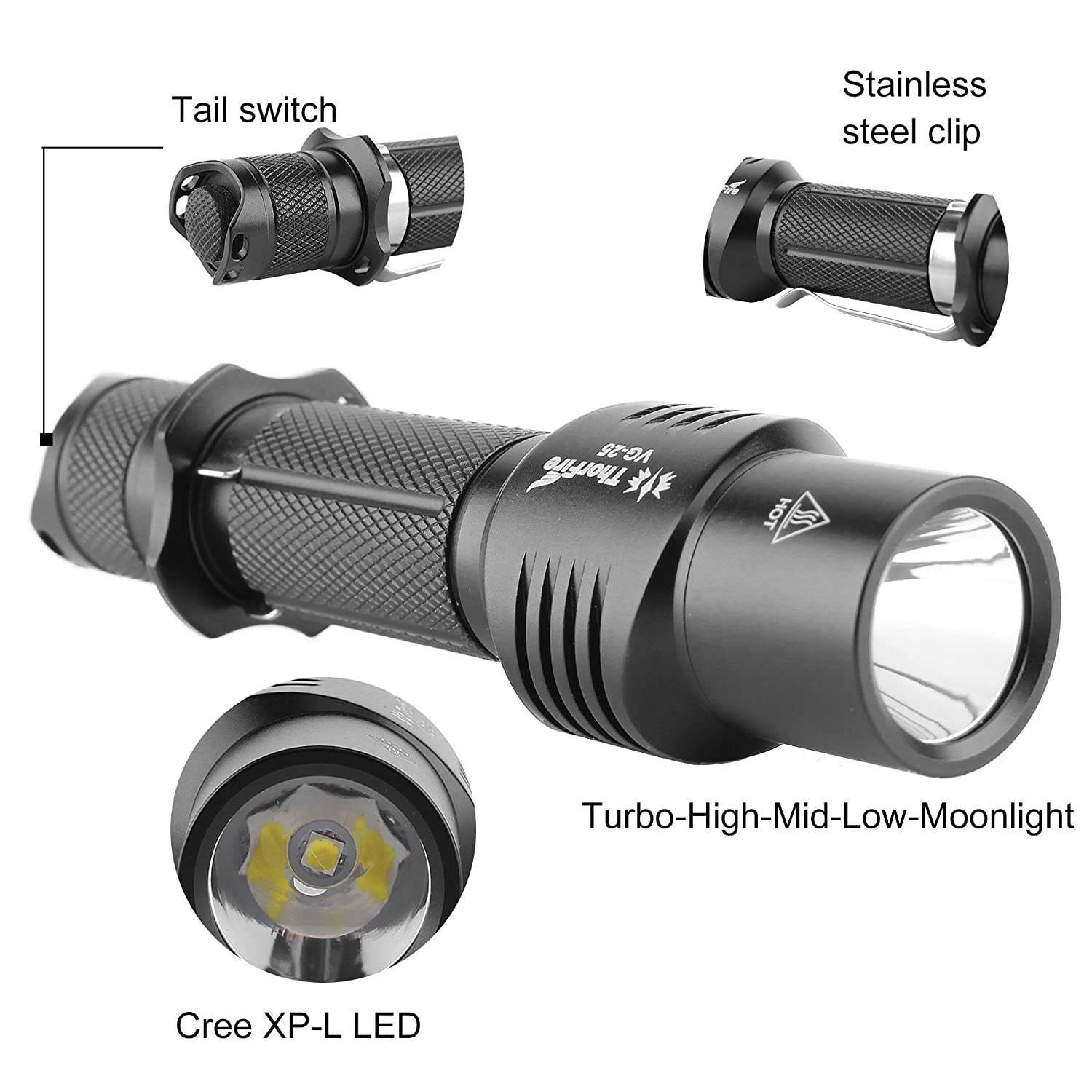 Uncategorized Unusual Torches torch thorfire vg25 cree xp l led light max 1020lm mini edc flashlight 6 modes powerful use 18650 battery campin