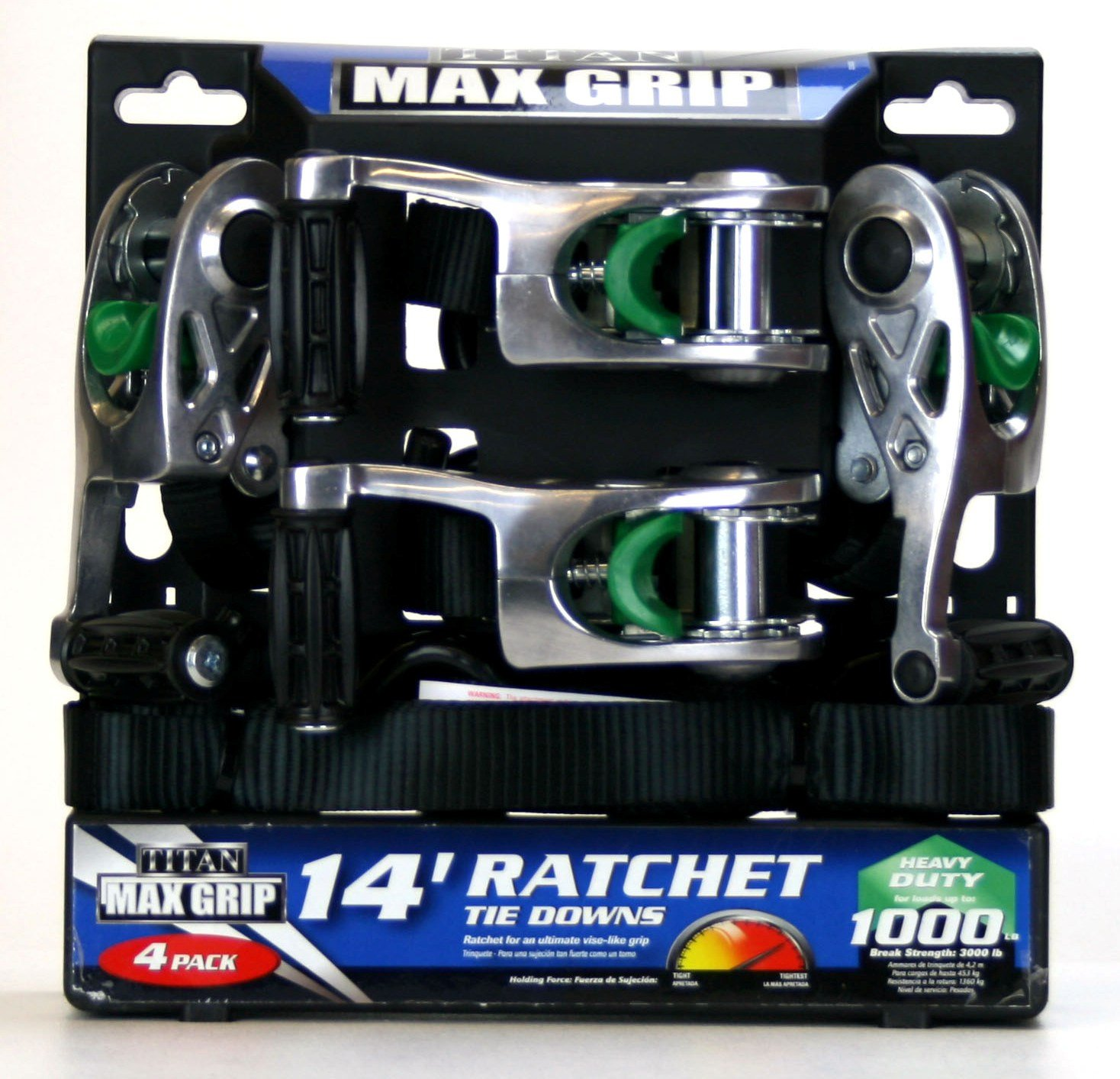 1158500 Highland Titan Max Grip 11585 14 Ratchet Tie Downs 4 Pack Heavy Duty up to 1,000 Lbs