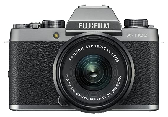 Fujifilm X-T100 24.2MP Mirrorless Camera (Silver) with XC15-45mm Lens Kit Digital SLR Cameras at amazon