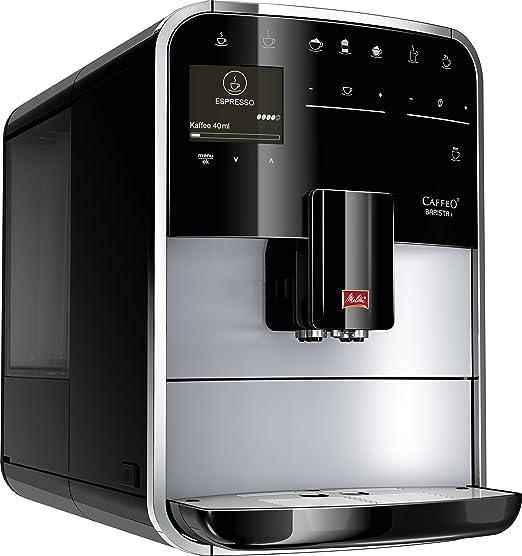 Melitta 970-306 - Cafetera automaticá (1.8L, 15 bar, 1450 W), con molinillo integrado, LCD display, My-Coffee, espumadador de leche, color plata