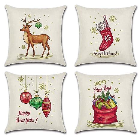 Juego de 4 Fundas de Almohada de Navidad con diseño de ...