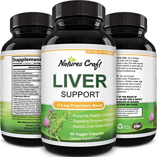 Natures Craft s Natural Liver Support Immune Support with Zinc helps with Weight Loss For Men Women Milk Thistle Dandel ion Artichoke Complex Detox Cleanse Vitamins Boost Metabolism 60 caps
