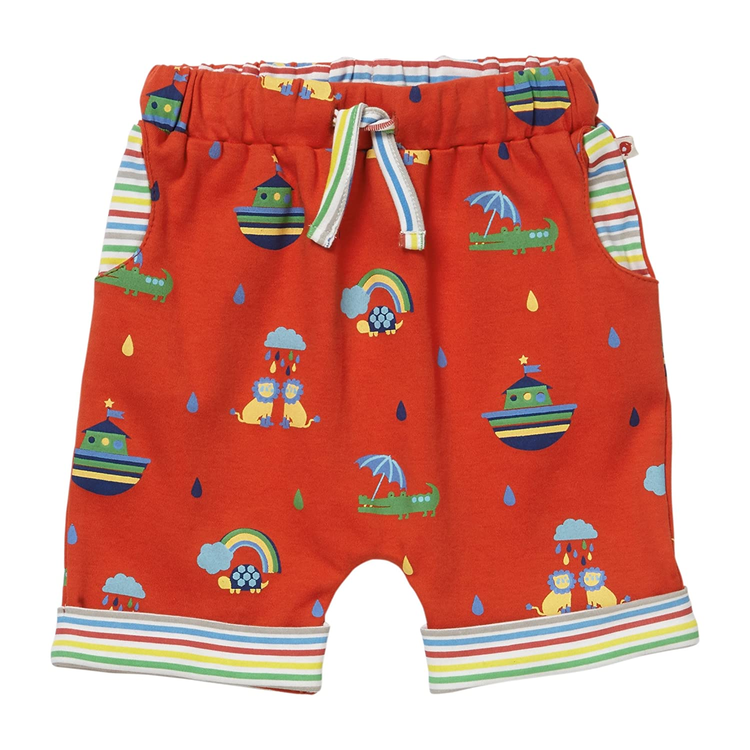 Piccalilly Unisex Red Rainbow Ark Baby Shorts Organic Cotton