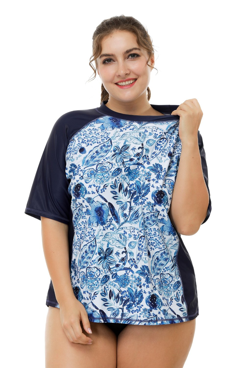 vivicoco Womens Plus Size Rash Guards Short Sleeve Swim Shirts Swimwear 1X