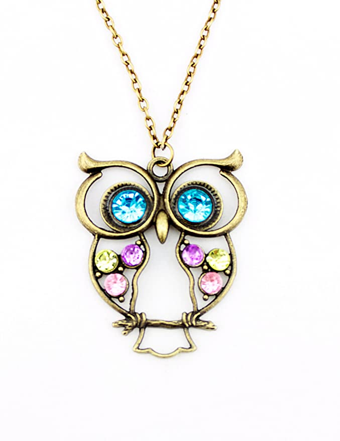 5929960b172b3b WorldTree Fashion Vintage Bronze Style Color Crystal Rhinstone Owl Pendants  Long Chain Necklace: Amazon.co.uk: DIY & Tools
