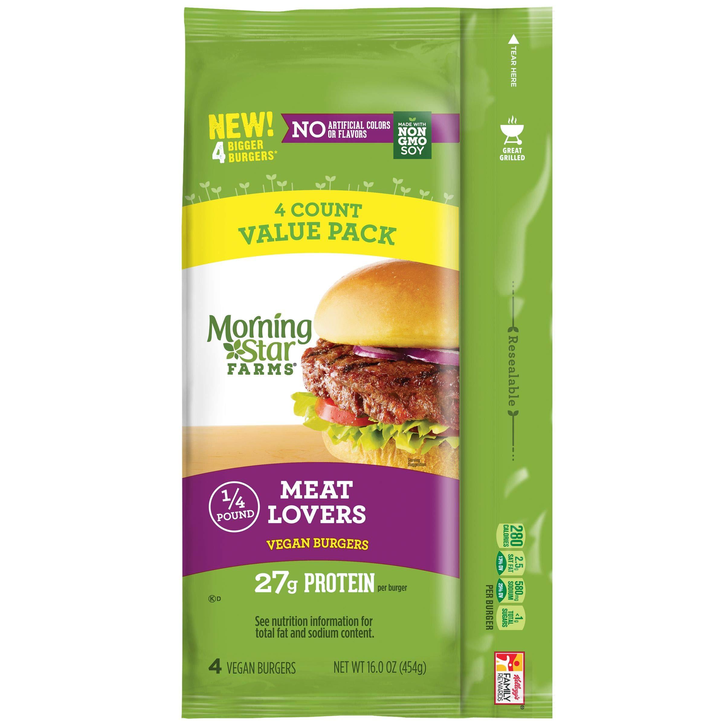 Morningstar Farms Vegan Meat Lovers Veggie Burgers (4 oz Burgers) 16 oz Pack of 6