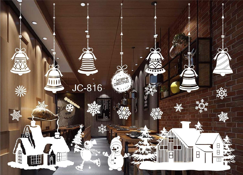 Decorazioni natalizie Decorazioni per vetrine adesivi vetrine Adesivi decorazioni natalizie per campanelli e fiocchi di neve Adesivi elettrostatici PVC riutilizzabili Vetrate vetrerie Shop Caffetteria Decorazioni invernali heekpek