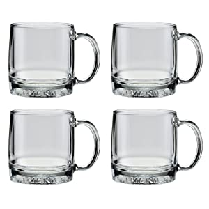 Culver Mug America Glass Mug, Made in the USA, Patriotic American Eagle Design, (Set of 4 Mugs, 12-Ounce)
