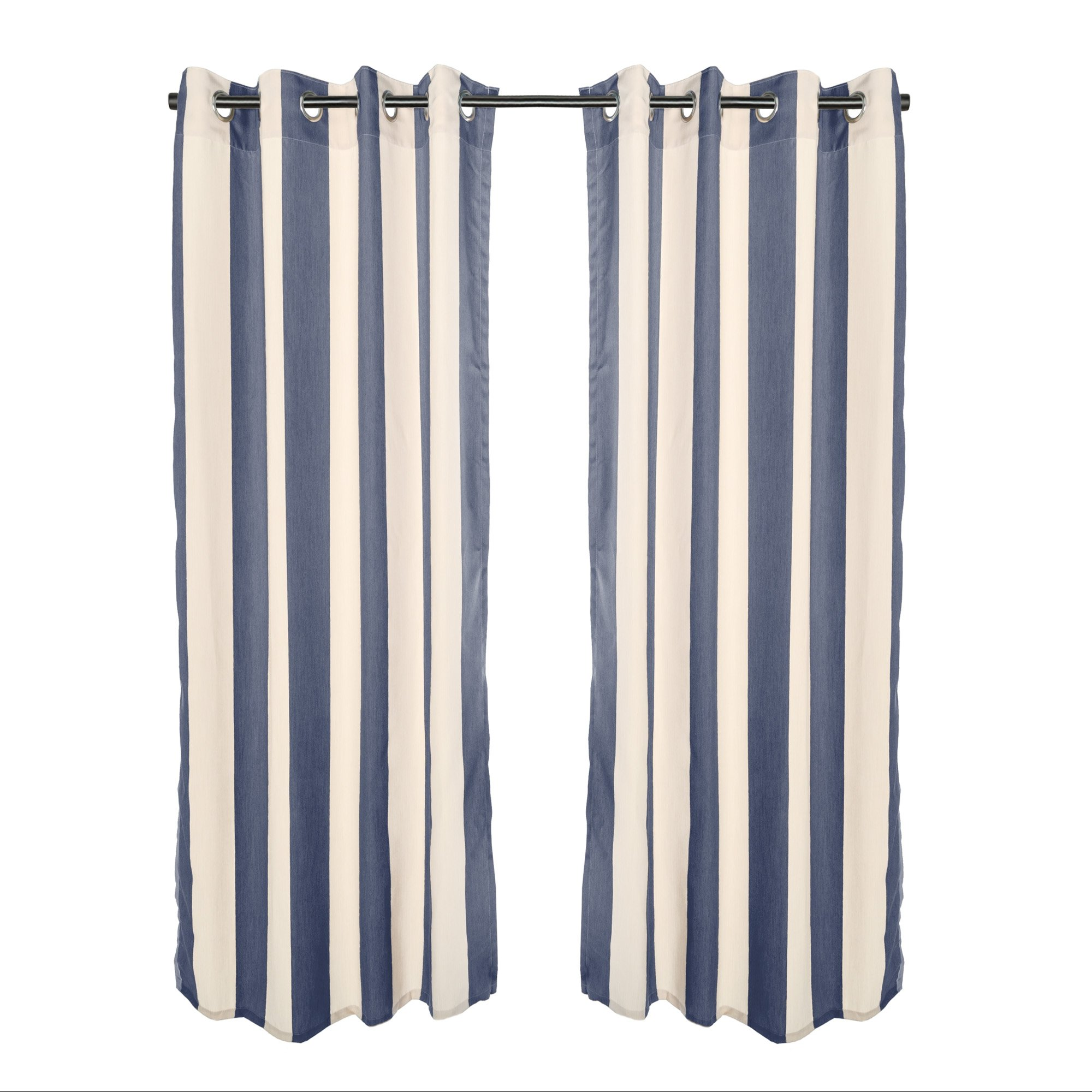 DFOHome Regency Indigo Sunbrella Grommeted Outdoor Curtain - 50'' W x 108'' L