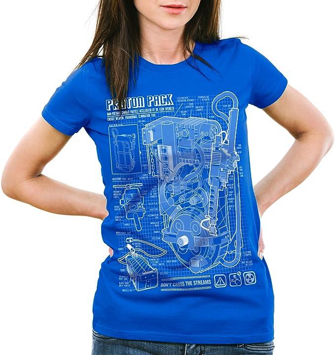 style3 Proton Pack Fotocalco Azul Camiseta para Mujer T-Shirt Cazafantasmas: Amazon.es: Ropa y accesorios