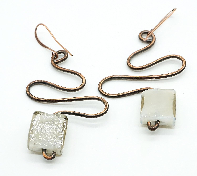 Ohrringe groß Ethno-Schmuck Kupferdraht Glas, ausgefalle Ohrhänger ...