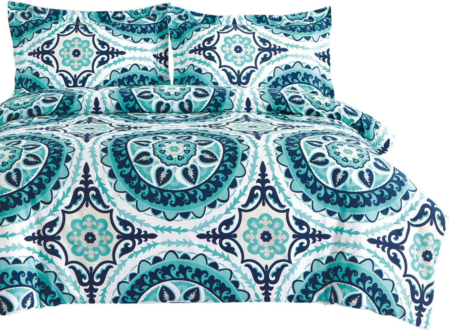 Wake In Cloud - Teal Comforter Set, Turquoise and Navy Blue Bohemian Boho Chic Mandala Medallion Pattern Printed on White, Soft Microfiber Bedding (3pcs, California King Size)