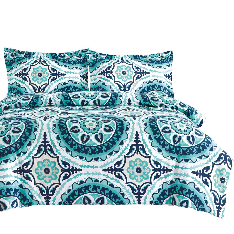 Wake In Cloud - Teal Comforter Set, Turquoise Bohemian Boho Chic Mandala Medallion Pattern Printed on White, Soft Microfiber Bedding (3pcs, Twin Size)