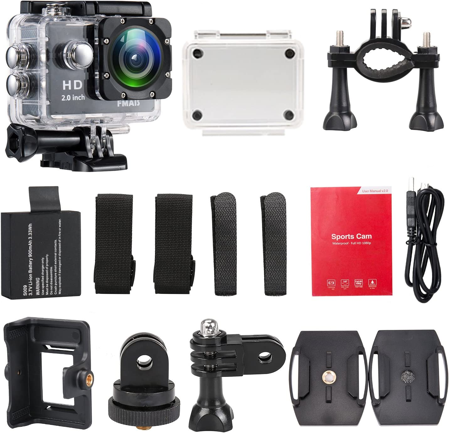 Fmais Action Camera Full Hd 1080p Waterproof Cam 2 Inch Lcd Underwater 30 M 98 Ft Diving 140 Wide Angle Sports Camera With 2 Batteries And Mounting Accessories Kits Black Sport Freizeit