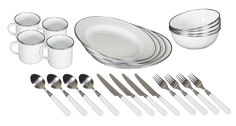STANSPORT - Deluxe 24-Piece Enamel Tableware Set: Plates, Bowls, Mugs & Utensils (White)