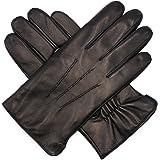 Harssidanzar Mens Luxury Italian Sheepskin Leather Gloves Vintage Finished Wool Lined