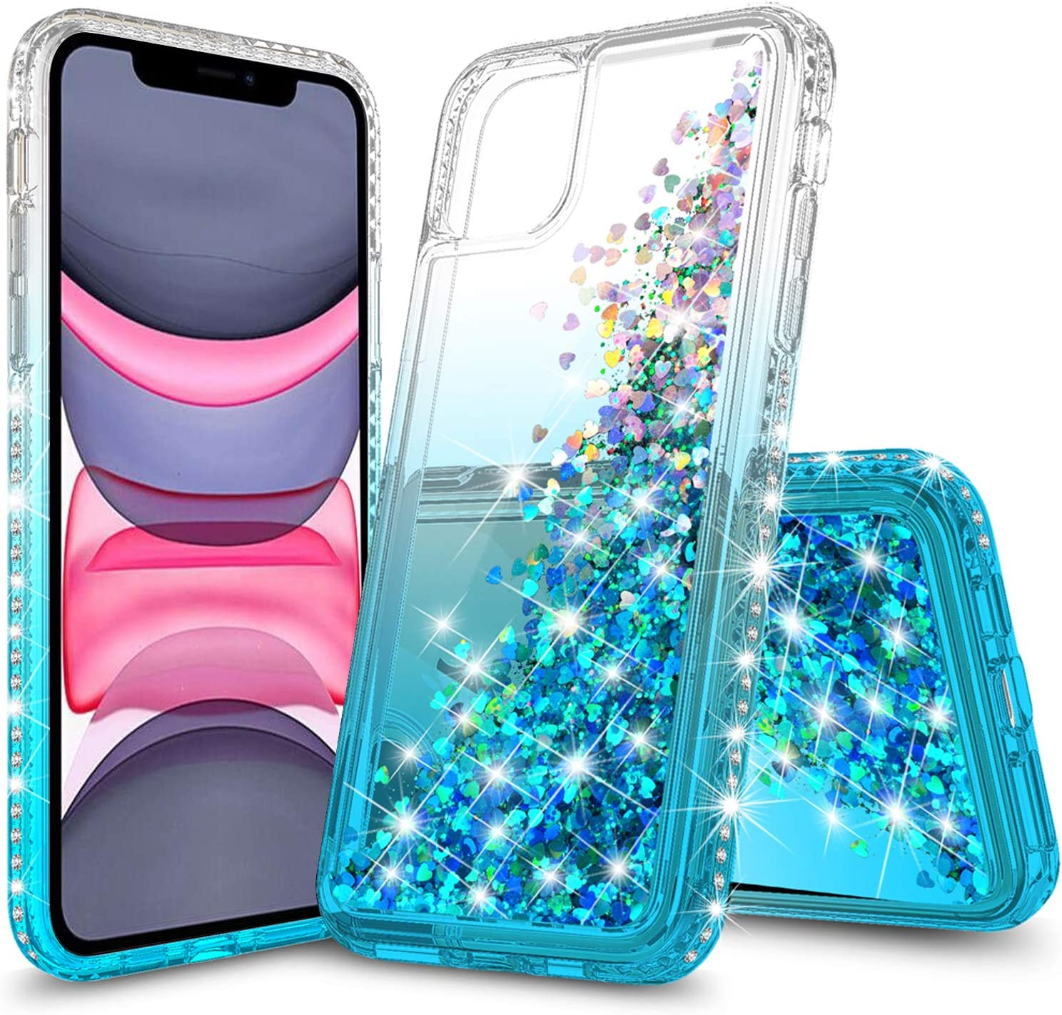 LOVEMECASE iPhone 11 Case for Girls Woman,Glitter Liquid Quicksand Bling Sparkle Flowing Sparkle Shiny Diamond Girls Protective Phone Case for iPhone 11 6.1 inch (Clear/Aqua)